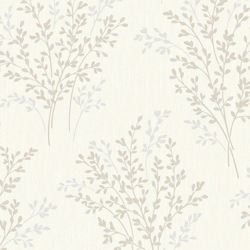 Fine Decor Summer Blossom Textured Glitter Wallpaper Beige