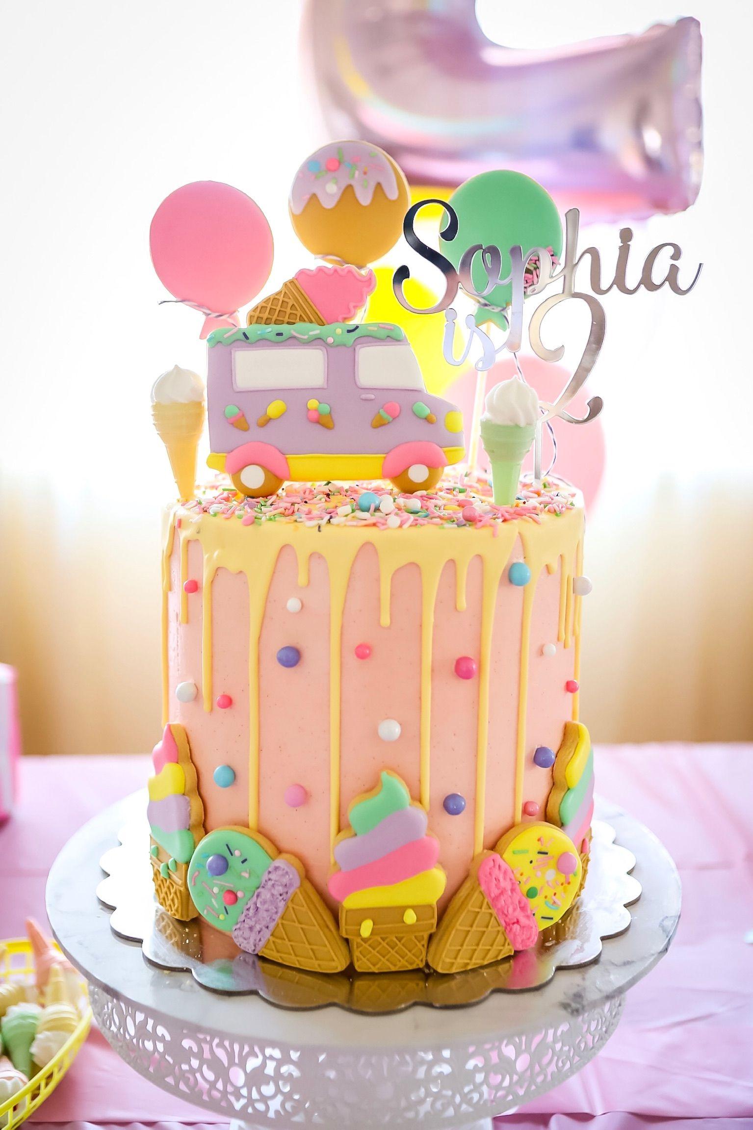 Ice Cream Theme Cake Buttercream Cake With Images Ice Cream