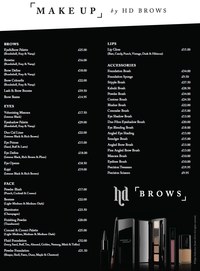 Make Up by HD Brows Price List. Hd brows, Brow palette
