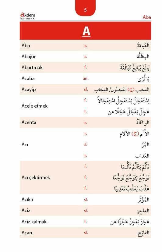 كلمات بحرف ال A في اللغة التركية Turkce Dil Arapca Dili
