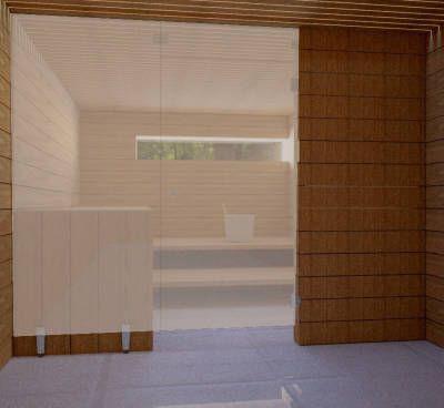 Saunan lasiseinä Vihta 2 ovi + ylälasi + sivulasi rst jaloilla pronssi