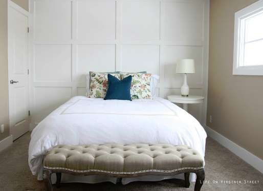 Sarah at Life On Virginia Street gave her guest bedroom the royal treatment by mounting a board-and-... - lifeonvirginiastreet.com