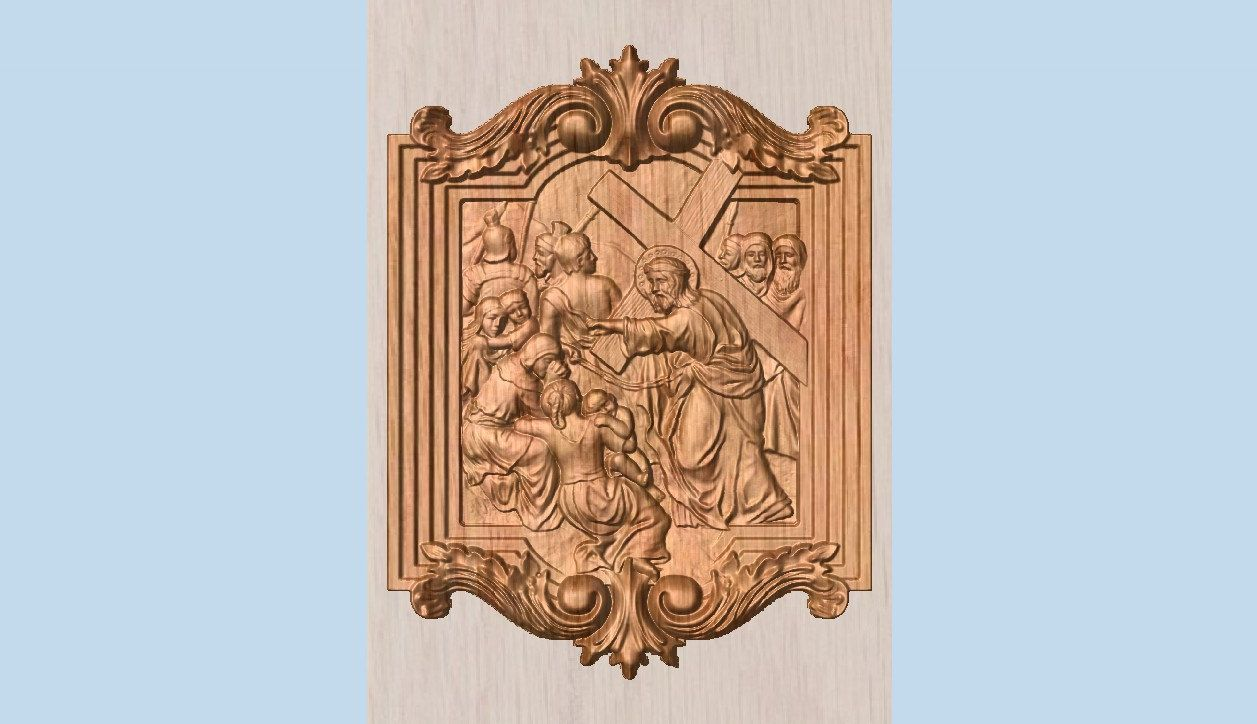 Stations of the Cross Wood Carving, Catholic Wood Carving, 8th Station Jesus Meets the women of Jerusalem ~ The Way of the Cross by TheWoodGrainGallery on Etsy