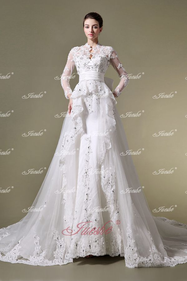 Appliqued Long Sleeves High Neck Lace Mermaid Wedding Dress With Bow And Detachable Chapel Train