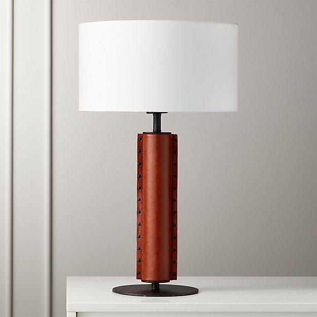 Rivet Brown Leather Table Lamp Reviews Cb2 Concrete Table