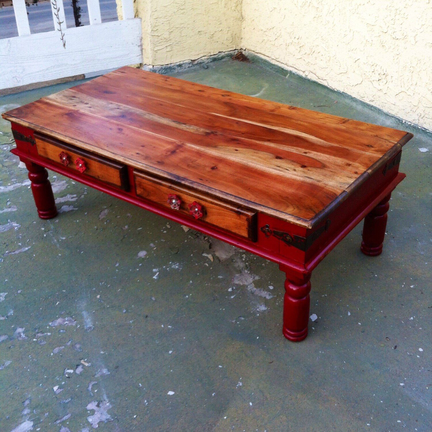 SOLD   Farmhouse Red Coffee Table, Shabby Chic Coffee Table, Solid Wood  Painted Distressed