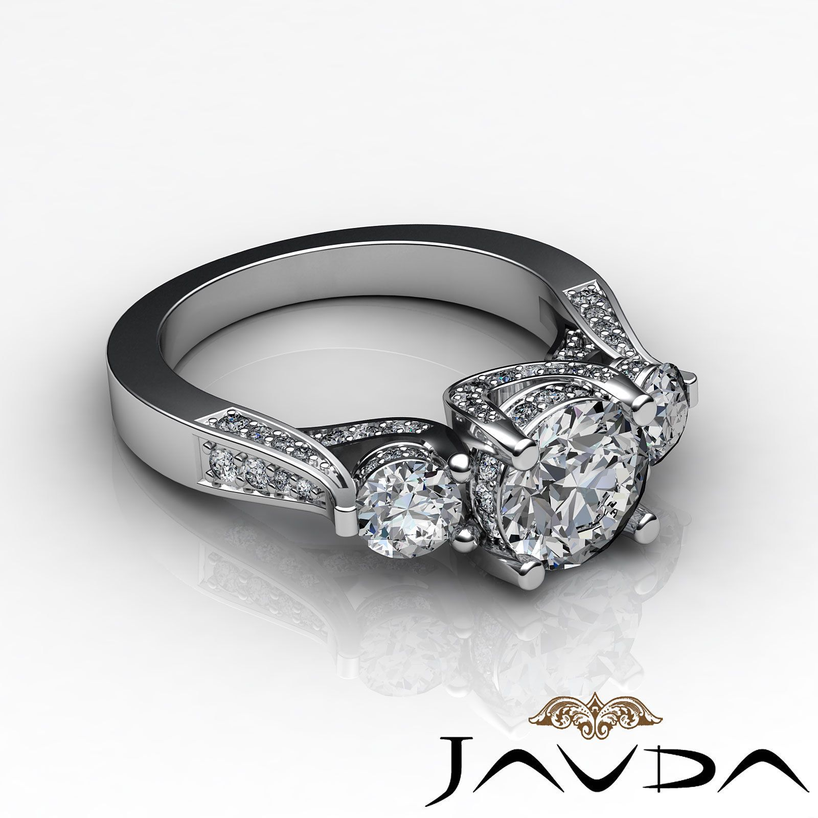 Unique Round Cut Diamond Three Stone Engagement Ring GIA F VS2 Platinum 2 2 Ct | eBay
