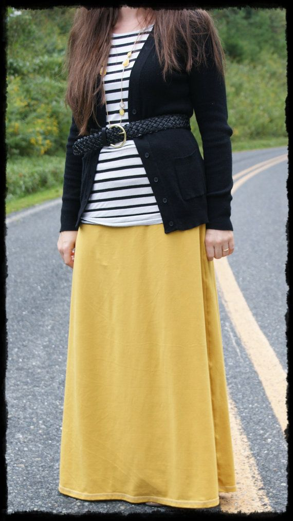 ad5cab1898d0f A Mustard Maxi!!! Women s Maxi Skirt Long Tall Modest Solid by  ModestSwimming
