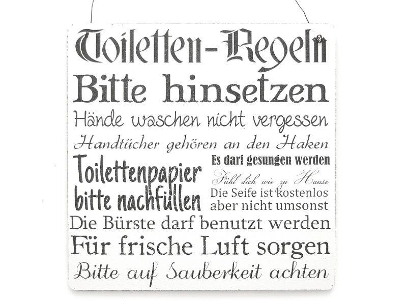 Xl Toiletten Regeln Wc Bad Shabby Vintage Schild Badezimmer Spruche Toilettenschilder Wc Dekoration