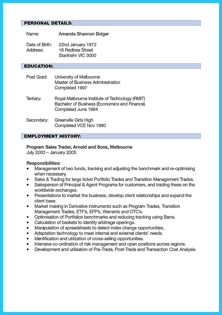 Pin di Resume Sample Template And Format