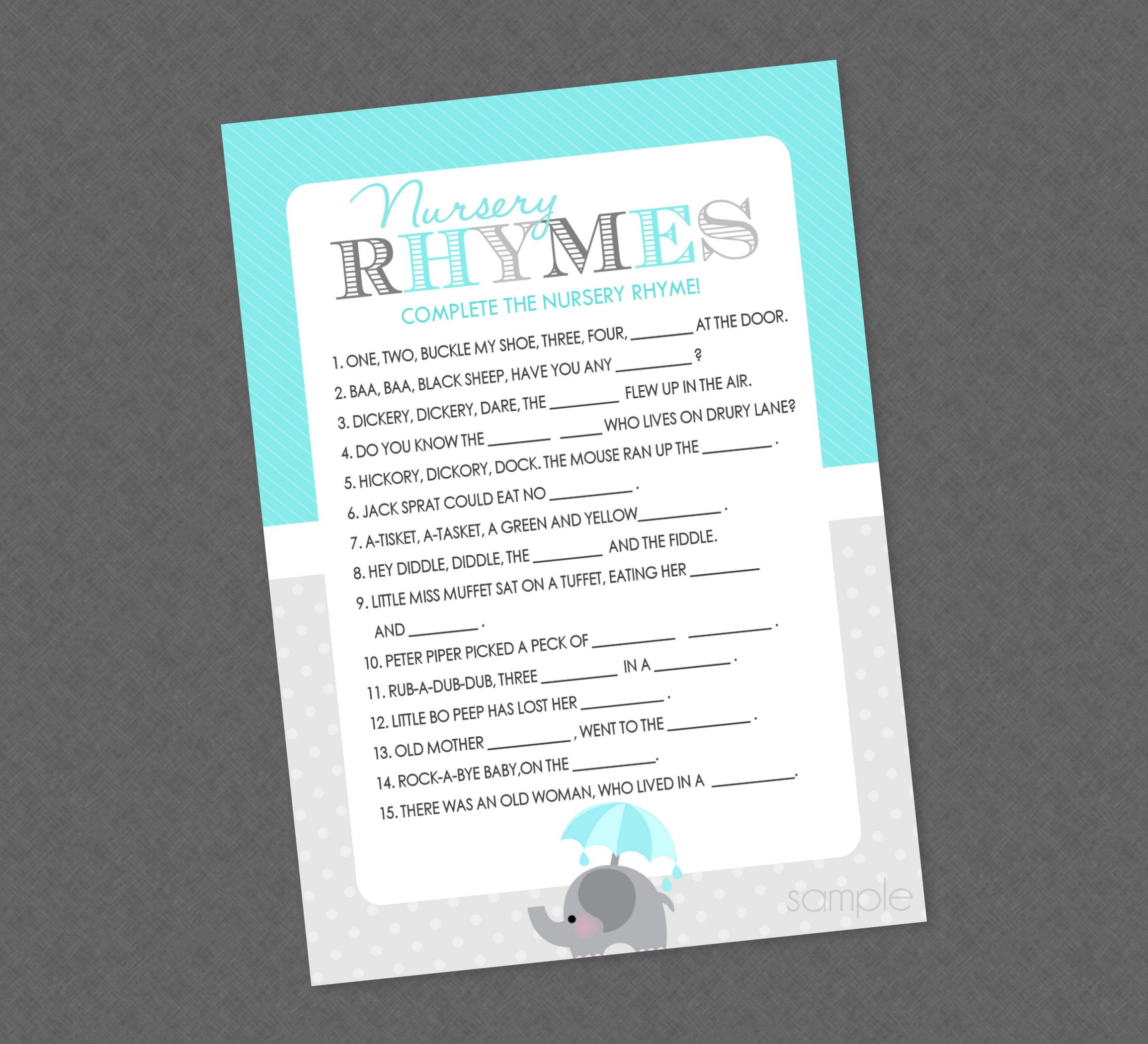 Elephant Nursery Rhyme Shower Game – INSTANT DOWNLOAD – Elephant Baby Shower Games, Nursery Rhymes Baby Game, Boy, Teal Blue