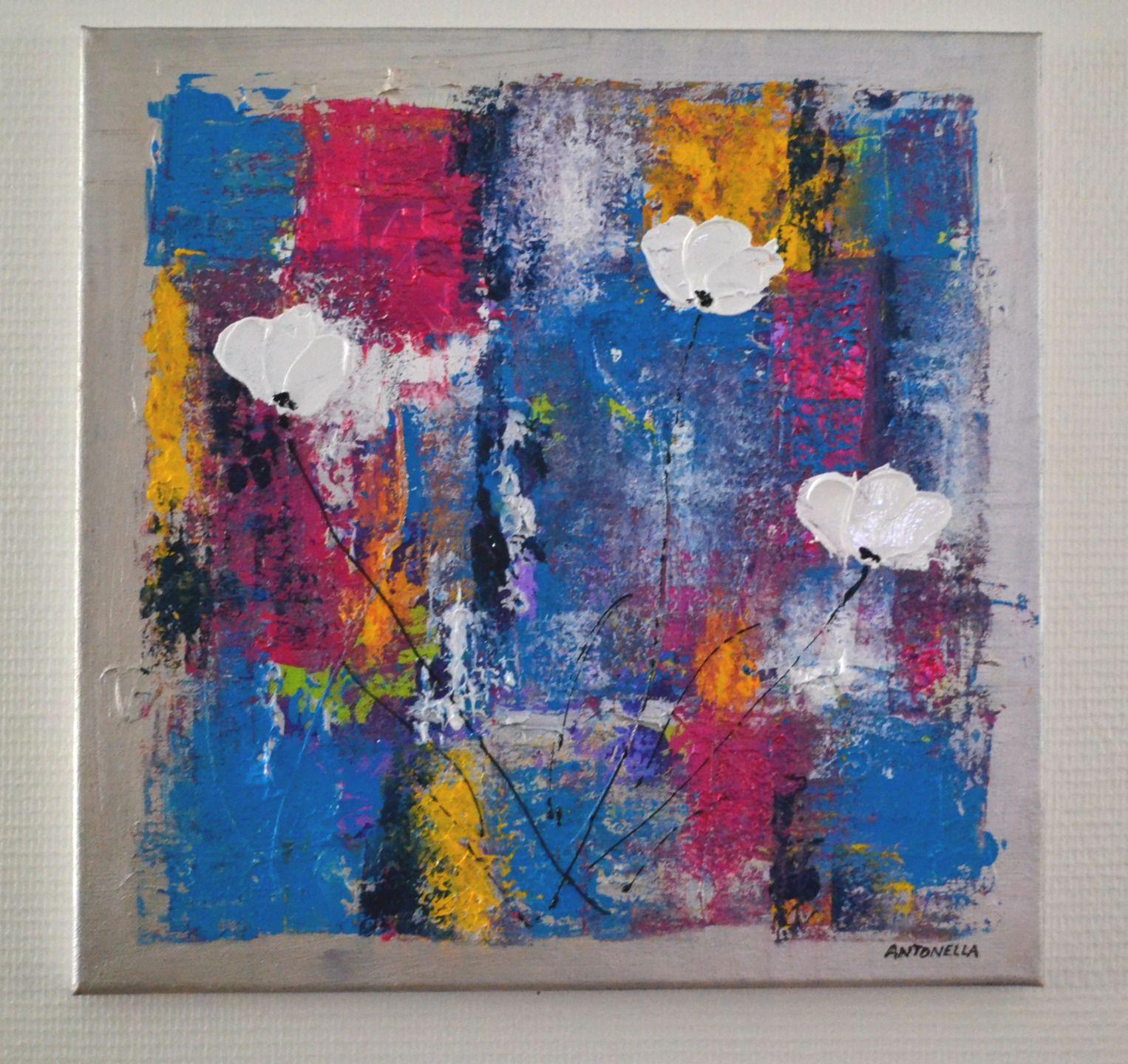 tableau abstrait color tableau contemporain peinture abstraite fleurs d coration murale. Black Bedroom Furniture Sets. Home Design Ideas