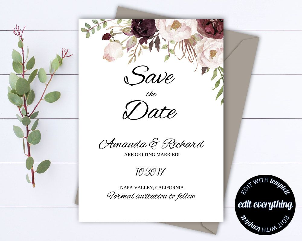 Fl Save The Date Wedding Template Rustic Invite Printable Our By Mintedmemories