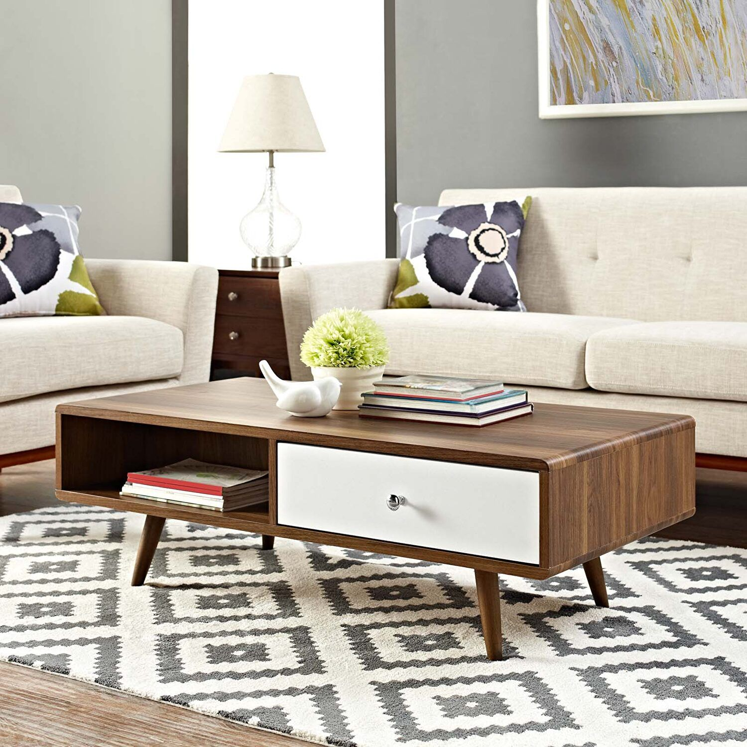 Transmit Walnut White Coffee Table Eei 2528 Wal Whi Modway Furniture Coffee Tables Mid Century Modern Coffee Table Mid Century Coffee Table Contemporary Coffee Table [ 1500 x 1500 Pixel ]