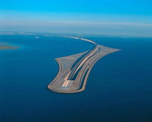 The Oresund Bridge Connecting Denmark And Sweden Runs Partly Underwater Oresund Bridge Places To Visit Underwater