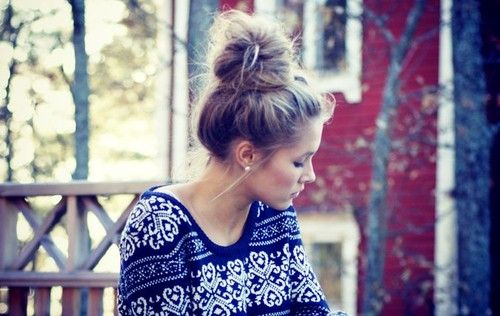 nordic sweater and messy bun