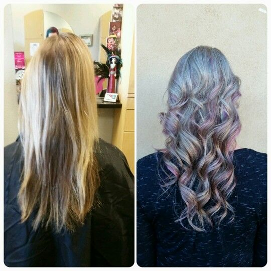 Before And After Brassy To Grey And Pink Hair Siren Habit Salon Vacaville Ca 95687 707 365 9395 Habitsalon Greyhairdo Grey Hair Don T Care Pink Hair Hair