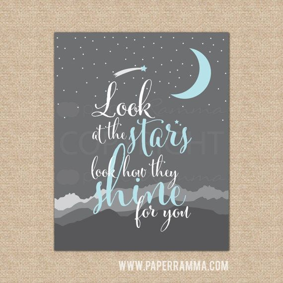 Look at the Stars Lyric Artwork Quote Wall Decor by PaperRamma