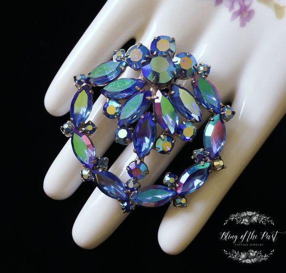 Blue Brooch Peacock Carnival Vintage Jewelry by BlingofthePast