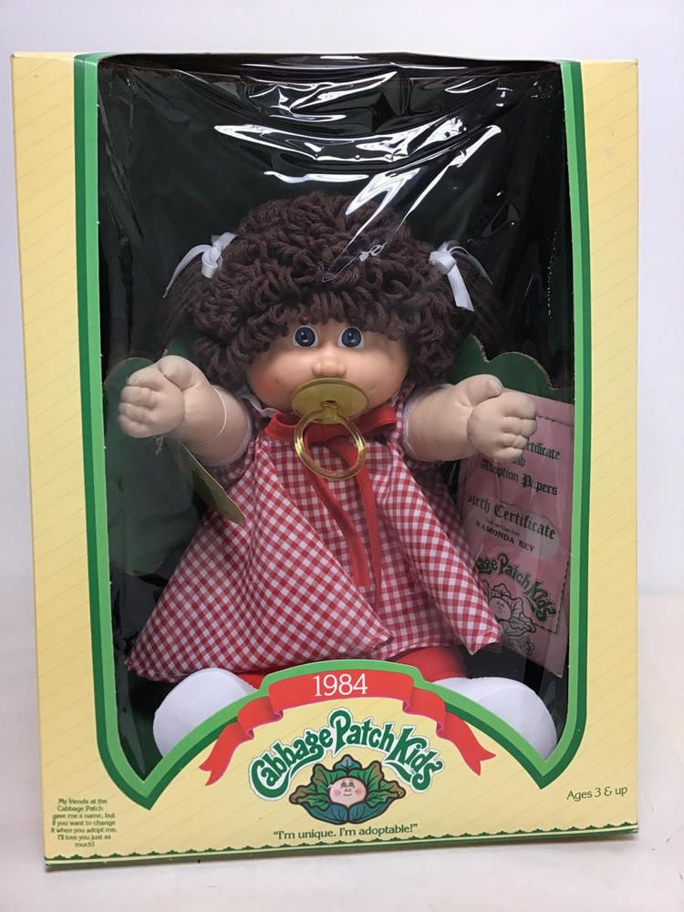 1984 Cabbage Patch Pacifier Doll W Brown Hair Blue Eyes Ramonda Bev Cabbage Patch Cabbage Patch Kids Blue Hair