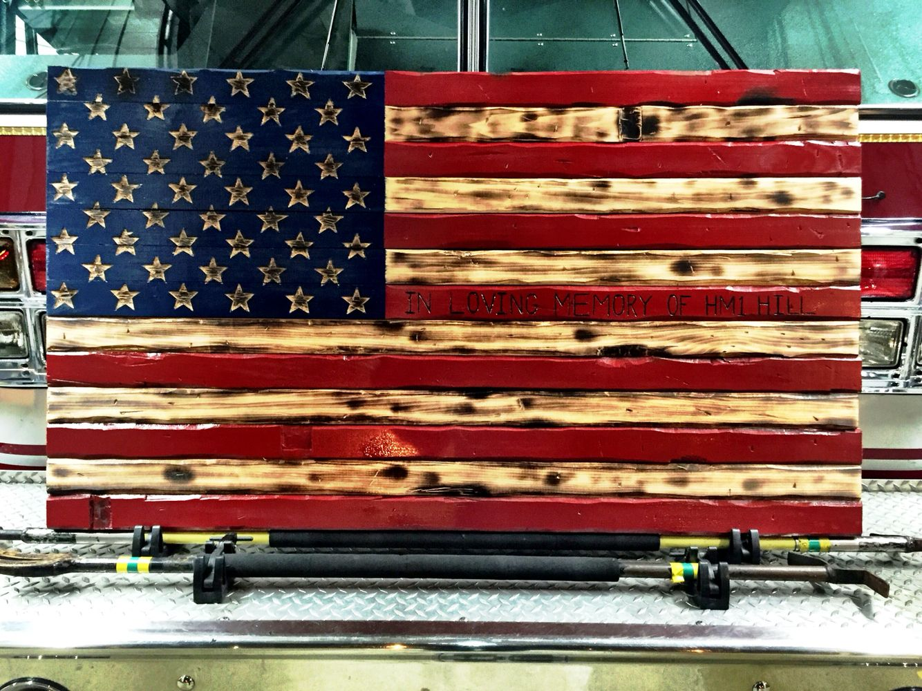 Hand carved rustic american flag burned wood art https