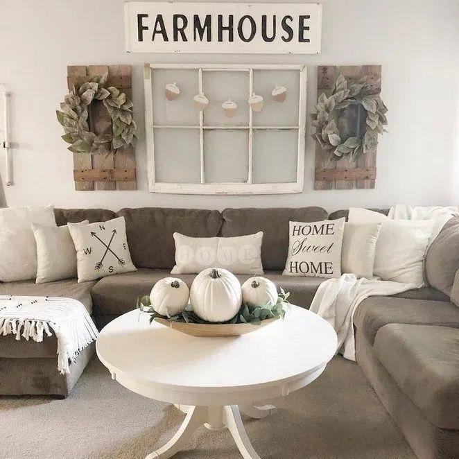 48 Cute Modern Farmhouse Living Room Decor Ideas - ABCHOMY