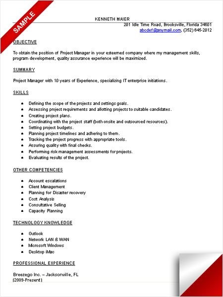 Project Resume Example It Project Manager Resume Sample  Project Management  Pinterest .