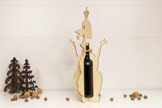 Grape carving  Design Wooden Self  Balance Wine Bottle Holder