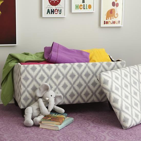 Kids Storage Bench Furniture Toy Box Bedroom Playroom: Upholstered Storage Bench W/Feet