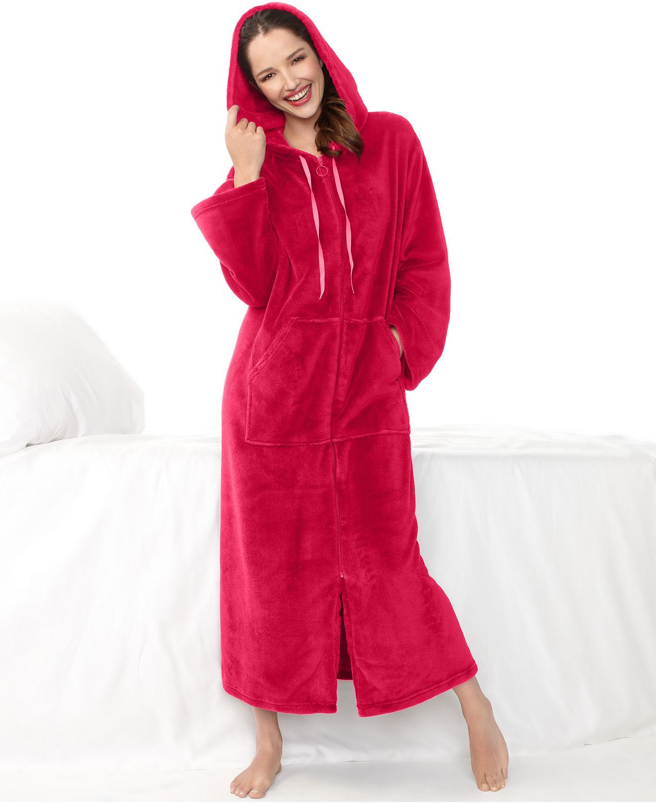 Charter Club Robe, Supersoft Long Hoodie Zip Up Robe - Womens Robes ...