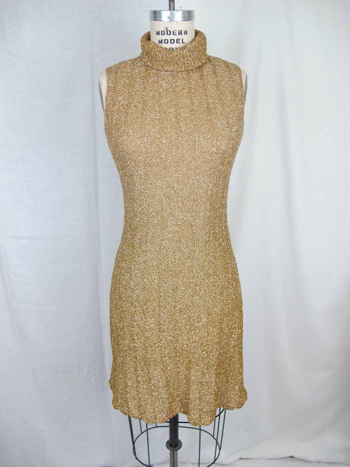 S gold metallic kimberly knit cocktail party holiday dress s
