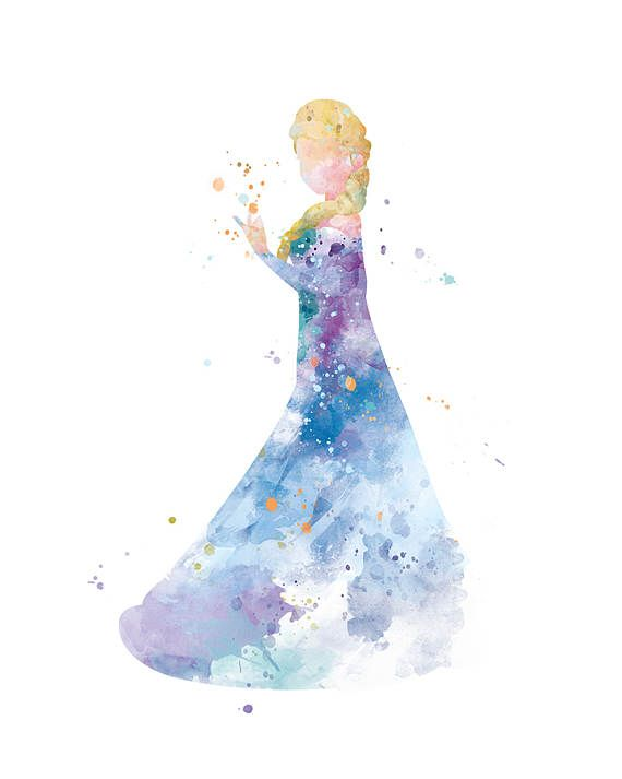Princess Elsa Art Print Watercolor Printable Frozen Wall Art