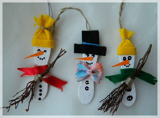 Wooden Ice Cream Spoon Ornament Craft Snowmen Santa Reindeer Would Be Fun To Make With The Kids