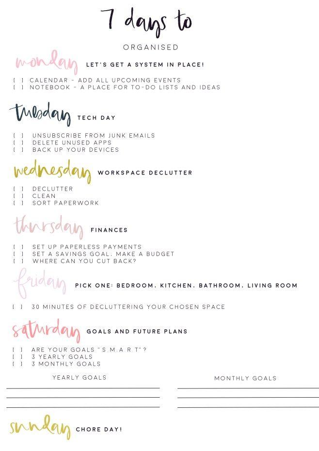 7 Days to Get Organised! Free Worksheet Printable kjisd