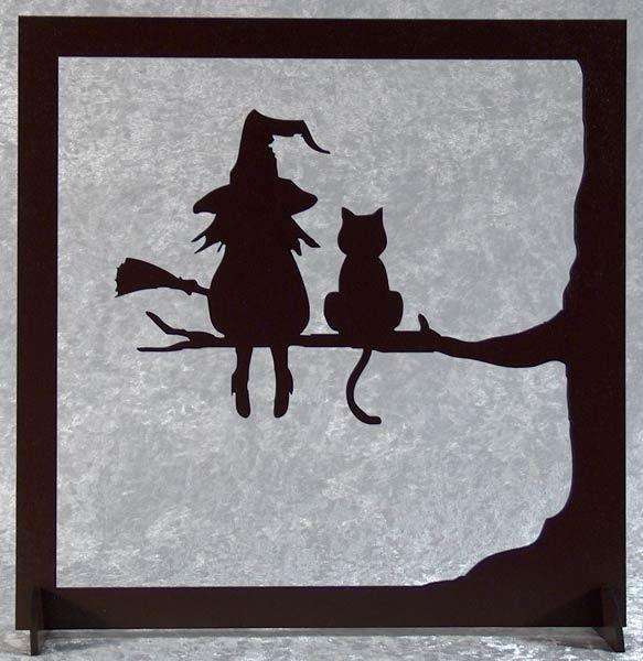 La sorcière et son chat - tableau silhouette en bois découpé, #bois #chat #découpé #maisonch...