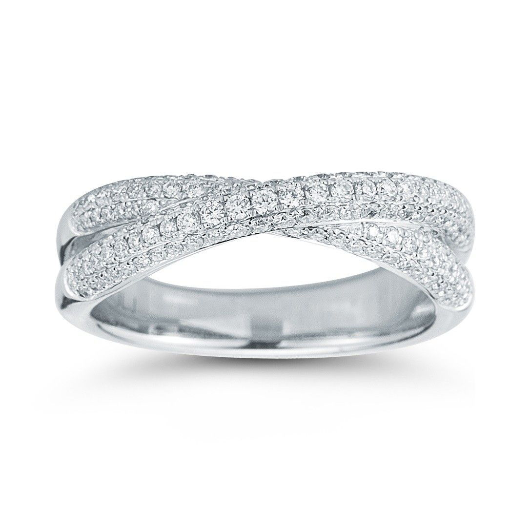 Round Criss Cross Diamond Band In 14kt White Gold 60ctw