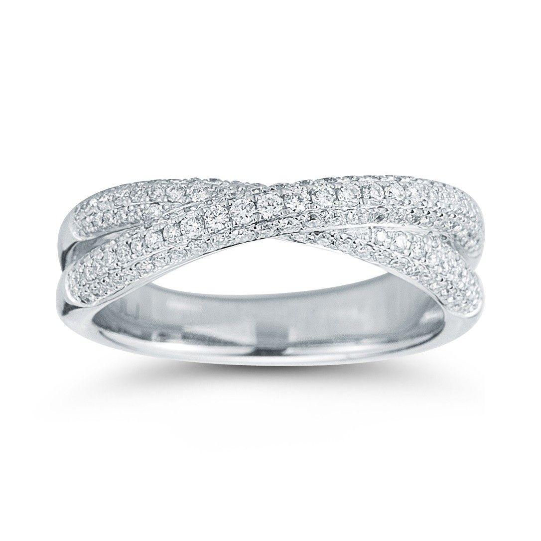 Round Criss Cross Diamond Band In 14kt White Gold 60ctw Diamondwave Wedding BandsDiamond