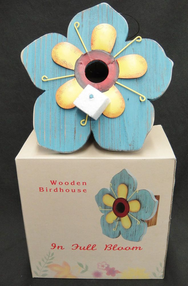 """Wooden Birdhouse """"In Full Bloom"""" Blue Flower Wood and Metal New in Box"""