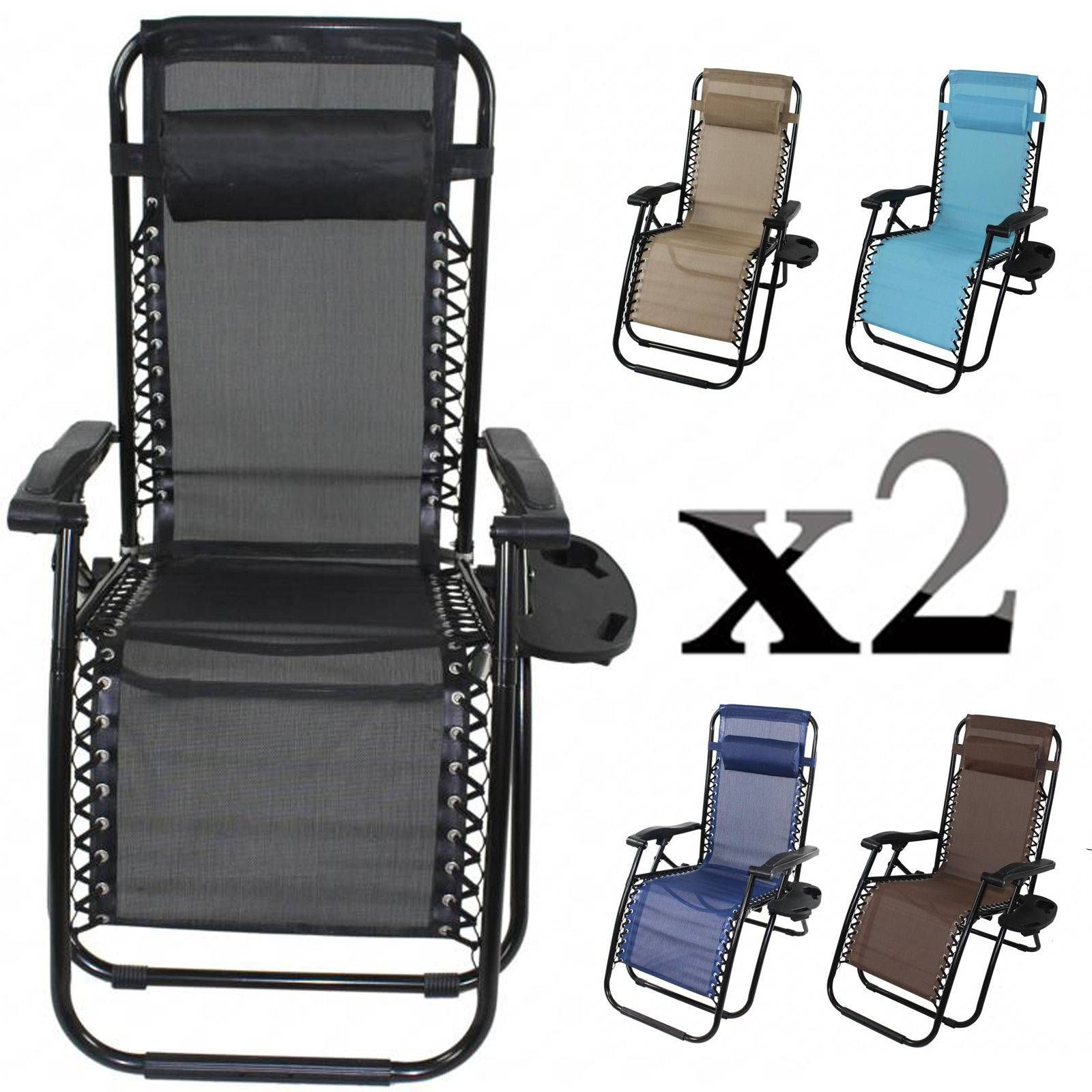 nice 2 Zero Gravity Folding Lounge Patio Chairs w Drink Holder
