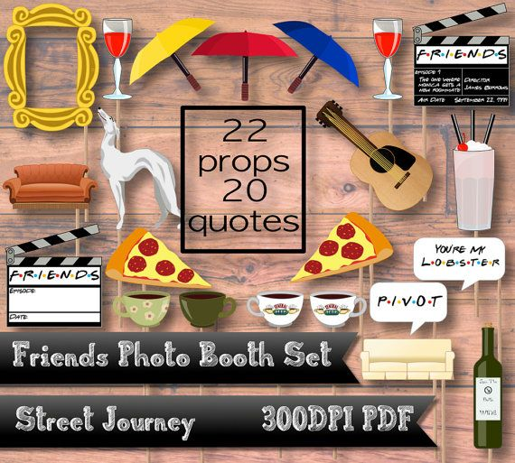 friends ultimate fan photo booth digital download pdf printable gold door frame couch umbrella coffee central