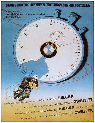 Vintage BMW Bike Racing Poster