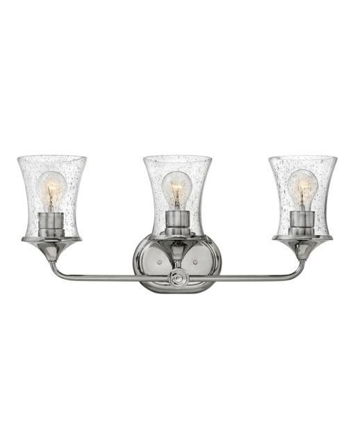 Photo of Bath Thistledown Bath Three Light – Brushed Nickel with Clear Glass