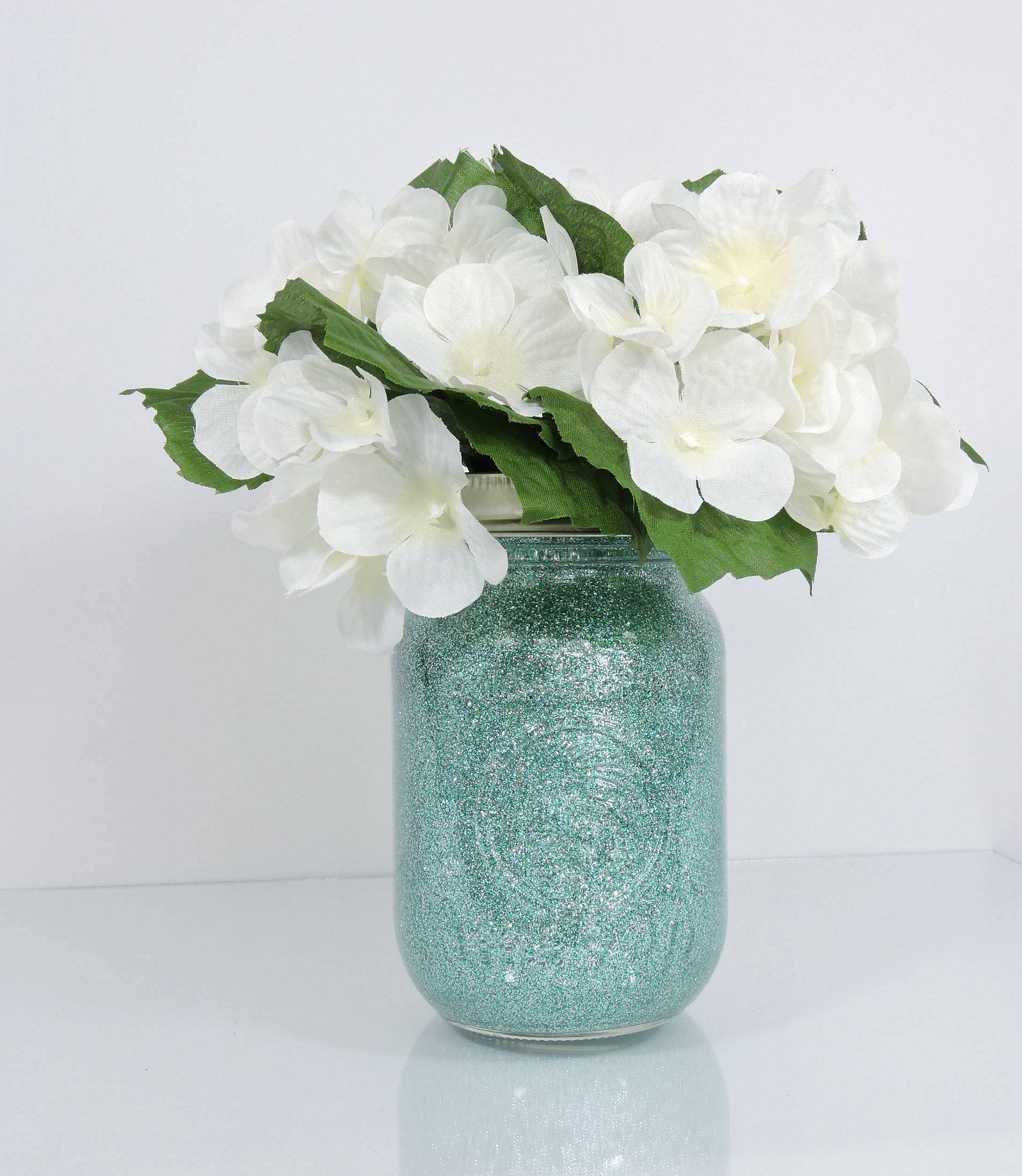 Teal and Silver Wedding Decor Glitter Mason Jar Centerpiece, Baby ...