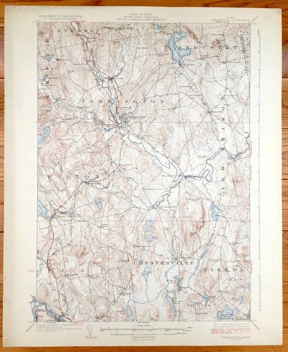 Antique Farmington, Maine 1924 US Geological Survey ...