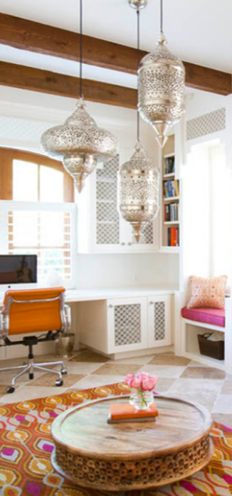 Moroccan style decor - just some touches, like lights, lattice cabinet doors, rug and table