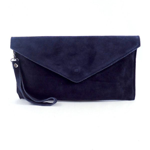 Pretty Lavish Navy Suede Envelope Clutch Bag 48 Liked On Polyvore Featuring Bags Handbags Clutches Blue Purse