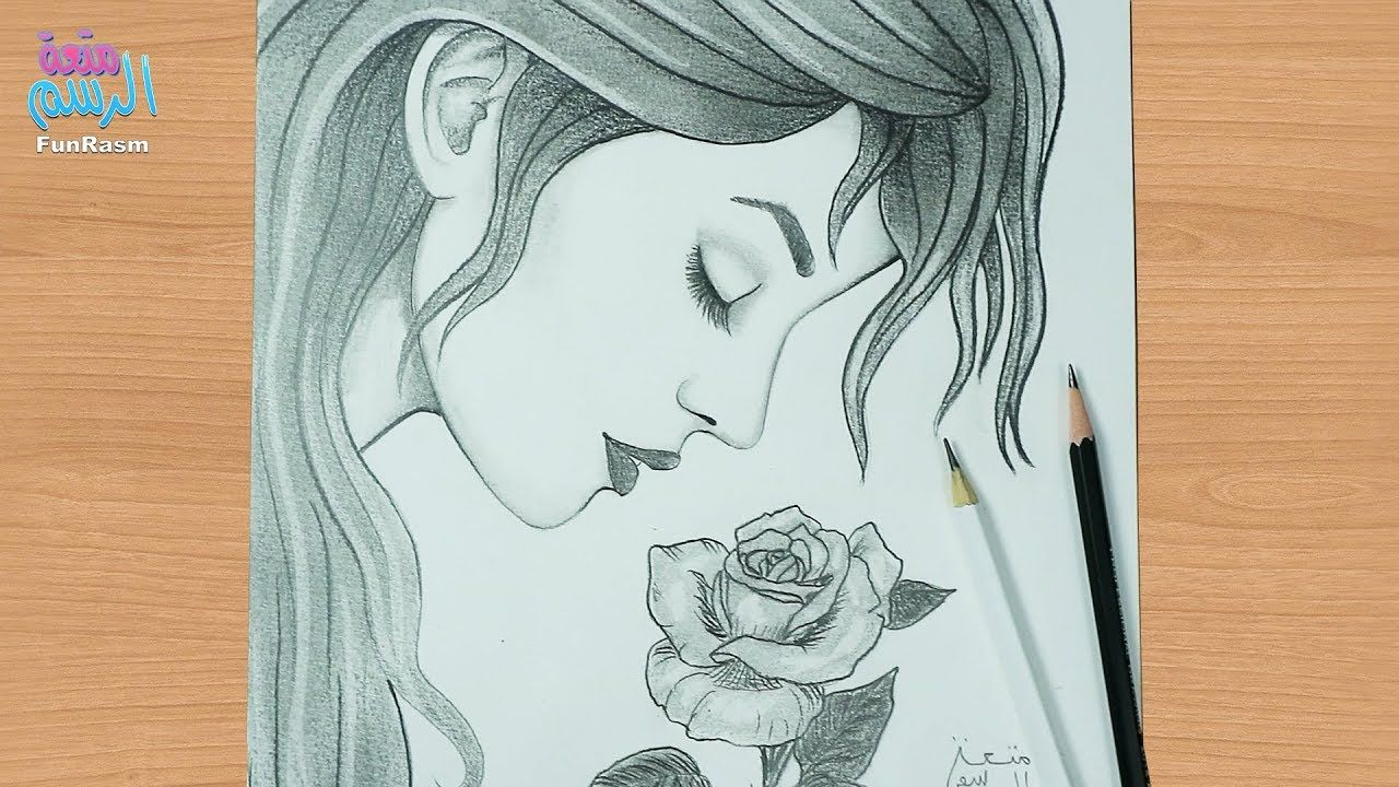 طريقة رسم وجه بنت من الجانب تشم وردة بالرصاص للمبتدئين Art Journal Inspiration Art Drawings Art