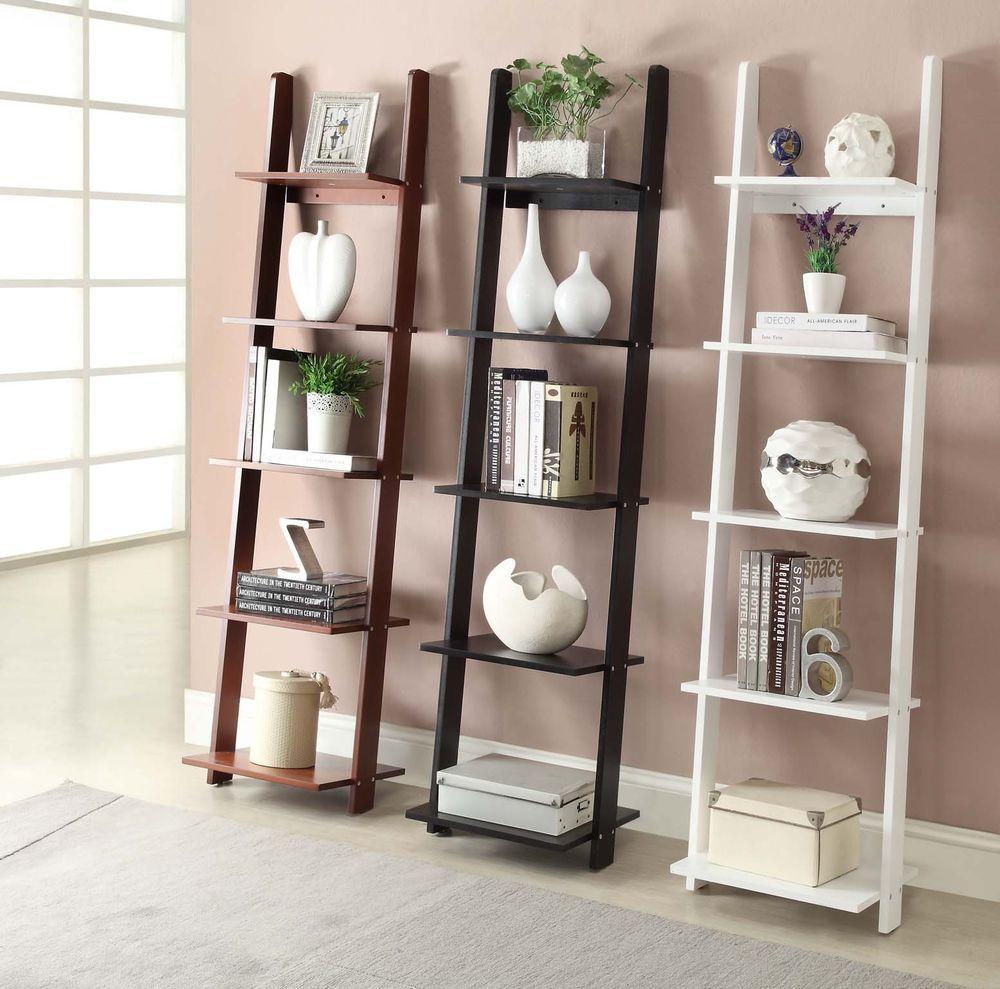 tier shelf storage unit organizer ladder shelves white black brown