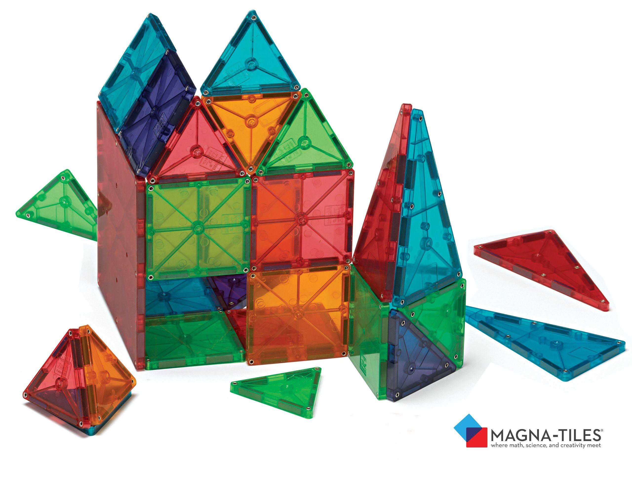 Magna Tiles Clear Colors 100 Piece Set Magna Tiles Magnetic Tiles Stem Toys