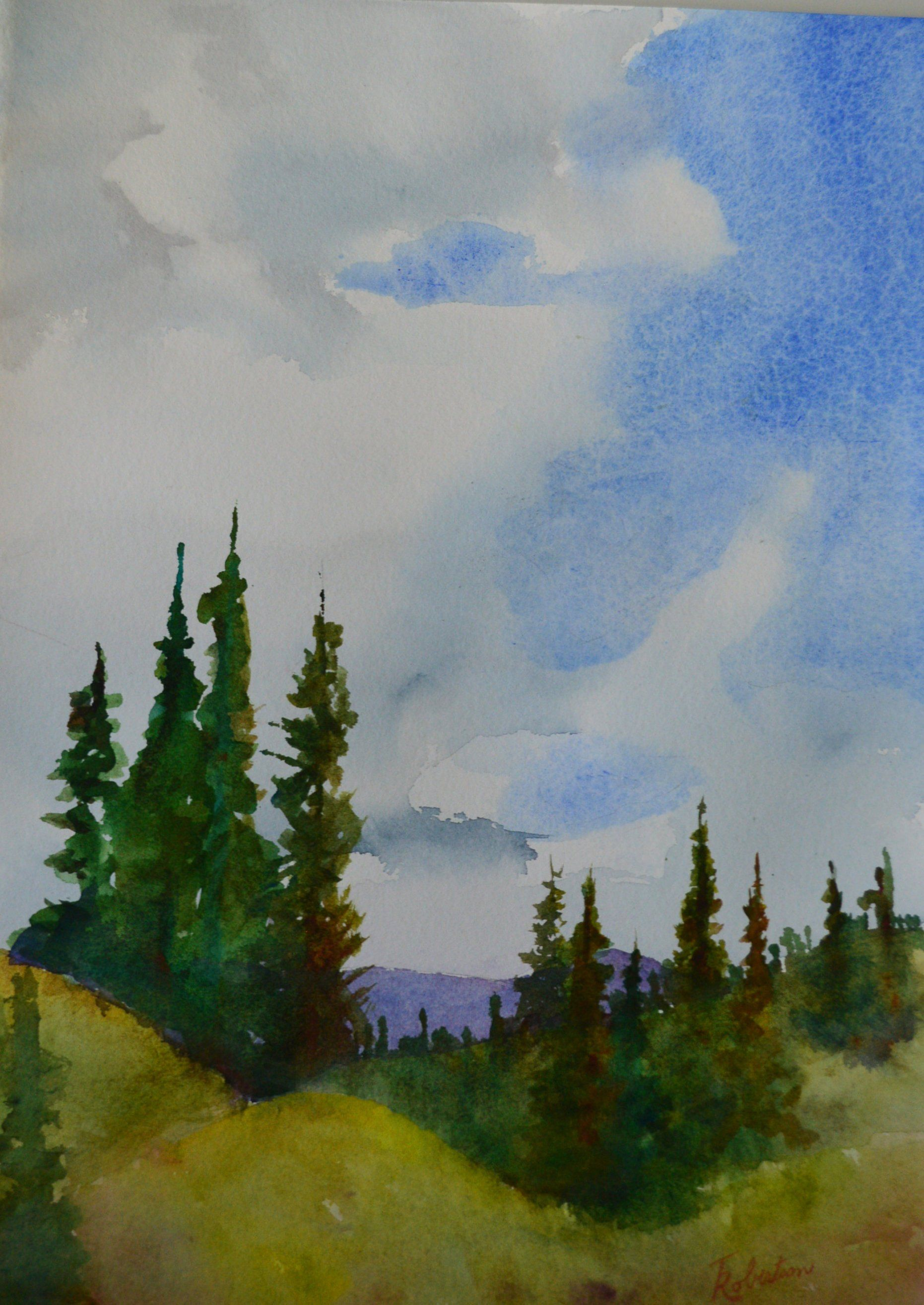 Watercolor Painting Original Of The Rocky Mountains In Colorado